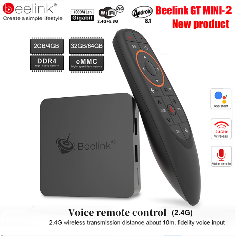 Beelink GT1 Mini TV Box Android 8.1 commande vocale Amlogic S905X2 TV Box 4GB DDR4 32GB 64G BT4.0 double Wifi HDMI2.0 4K décodeur