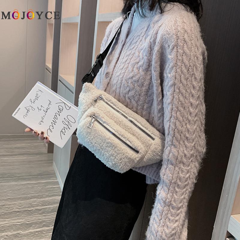 Fashion Plush Women Waist Bag Winter Fanny Pack Phone Pouch Double Zipper Crossbody Chest Pack Exquisite, Solid Color, Double Zi