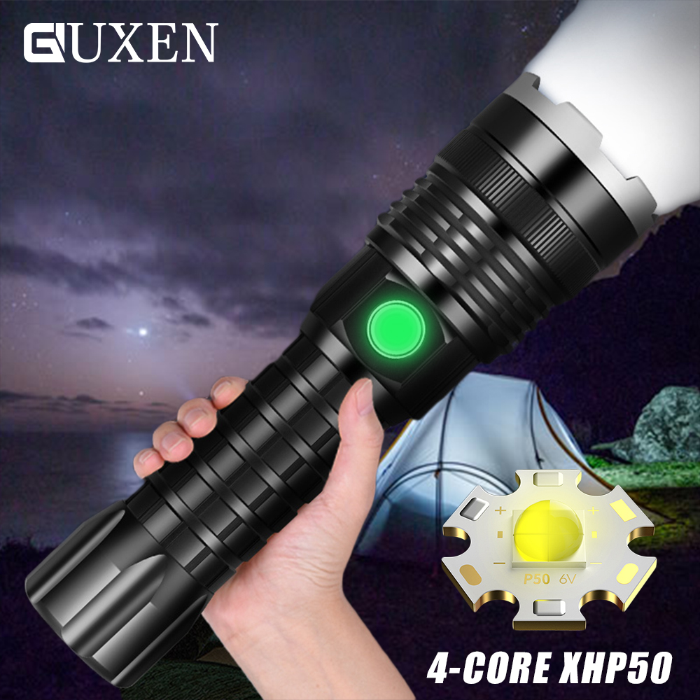 Super Bright XHP50 LED Flashlight <font><b>4</b></font> Light Mode USB Rechargeable Waterproof Zoom Outdoor Camping Tactical Torch Use <font><b>26650</b></font> Battery image