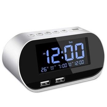 Будильник радио, FM с таймером сна, двойной USB порт зарядки, цифровой дисплей, с затемнением, регулируемый громкость (белый)|Радиоприёмники|   | АлиЭкспресс
