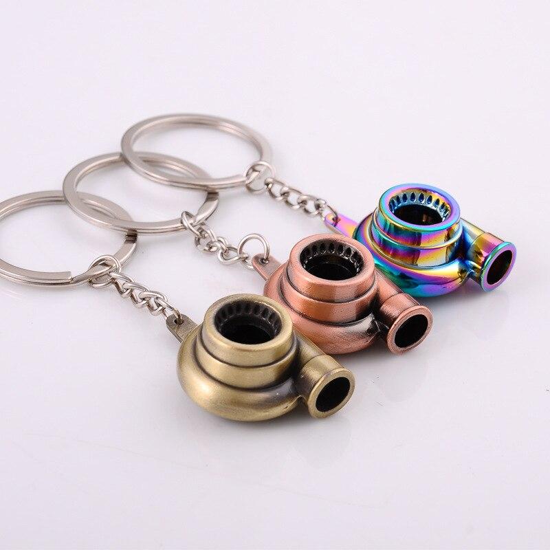 Мини турбо Турбокомпрессор брелок спиннинг турбина брелок для ключей кольцо брелок для ключей Автомобильный брелок аксессуары для интерье...