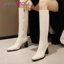 Женские сапоги до колена на высоком каблуке с квадратным носком