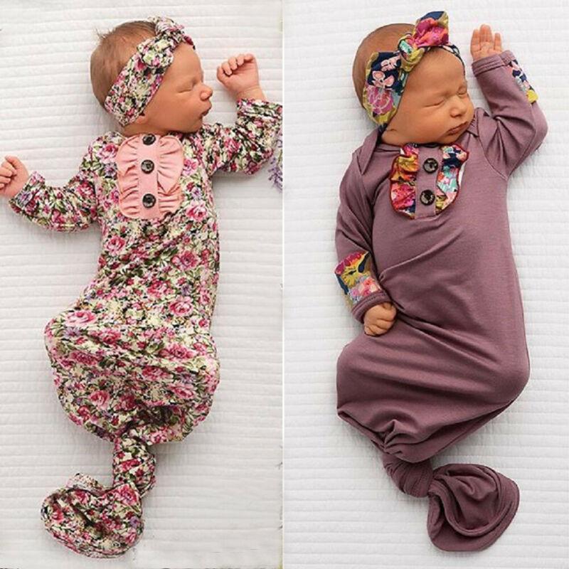 Cute Floral Baby Sleeping Bag Newborn Wrap Swaddle Blanket+Headband Sets Baby Boy Girl Soft Cotton Sleeping Bag 0-6Months
