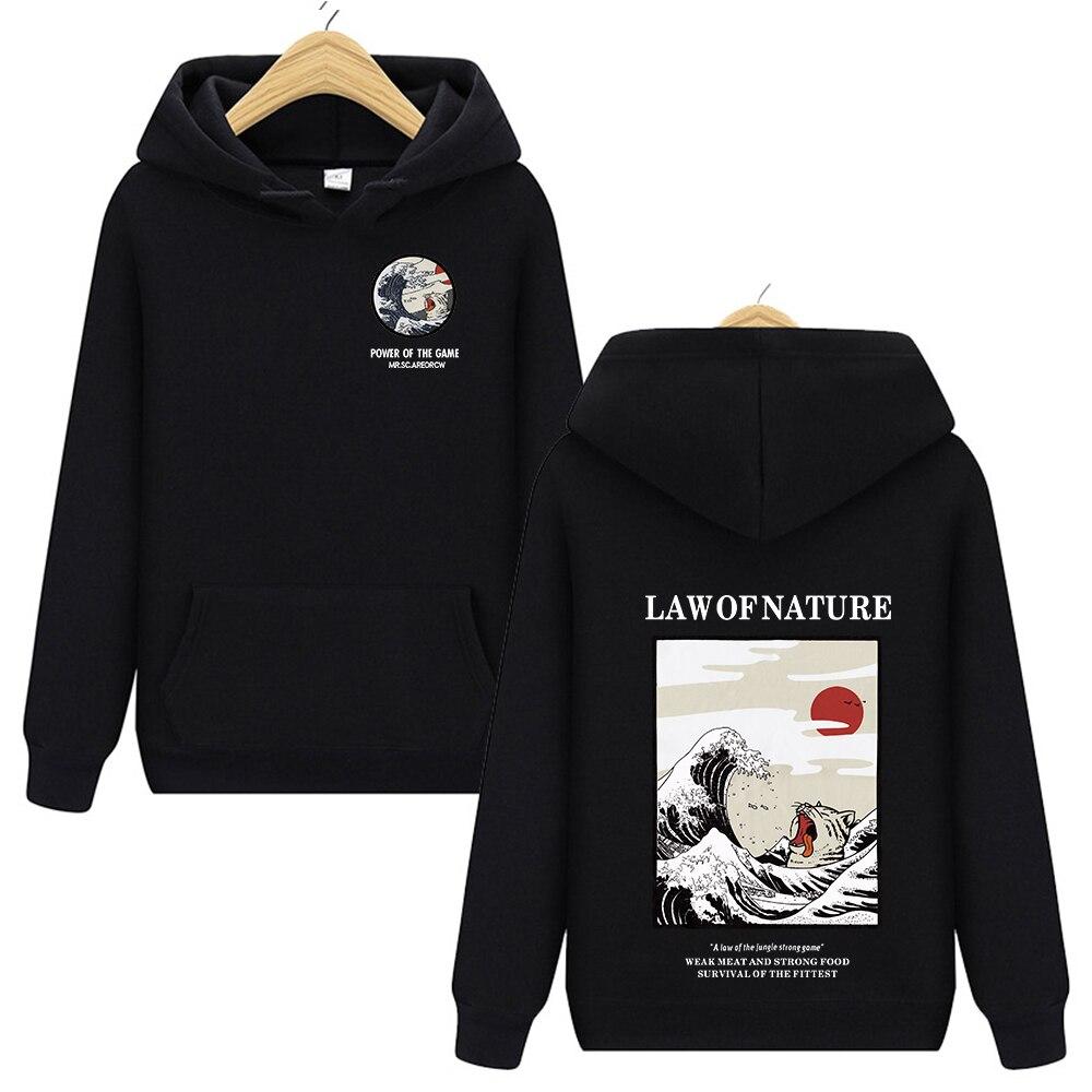 Japanese Embroidery Funny Cat Wave Printed Fleece Hoodies 2019 Winter Japan Style Hip Hop Casual Sweatshirts Streetwear