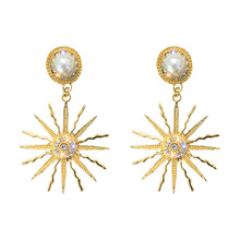 S925 Silver Needle Helios with Drilled Pearl Earrings