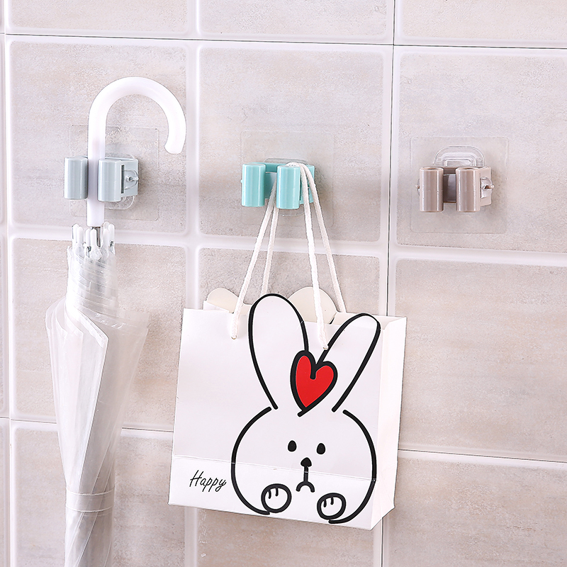 1pc Wall Mop Hook Hanging Rack Home Bathroom Hooks Holder Brush Broom Hanger  Nail-free Seamless Storage Broom Stick Holder NEW
