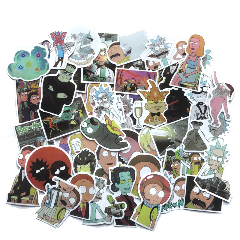 50PCS Waterproof Cartoon Rick And Morty Stickers Skateboard Suitcase Guitar Luggage Laptop Diy Stickers Kid Classic Toy Stickers
