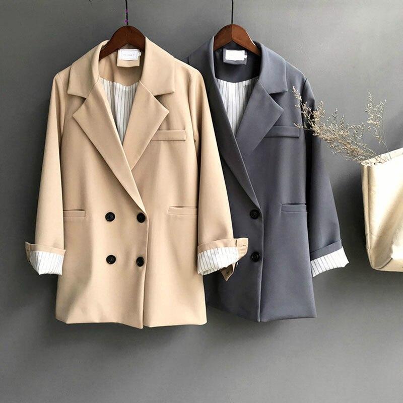 Winter Woman Blazer Jacket Coat Double Breasted Cotton Chic Long Suit Khaki Blue Casual Female Coat Elegant Office Ladies Blazer