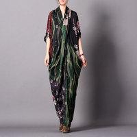 2019 Spring and Summer New Personality Silk Print Stitching Dress Chest Cross Fishtail Loose Dress Retro Elegant Women