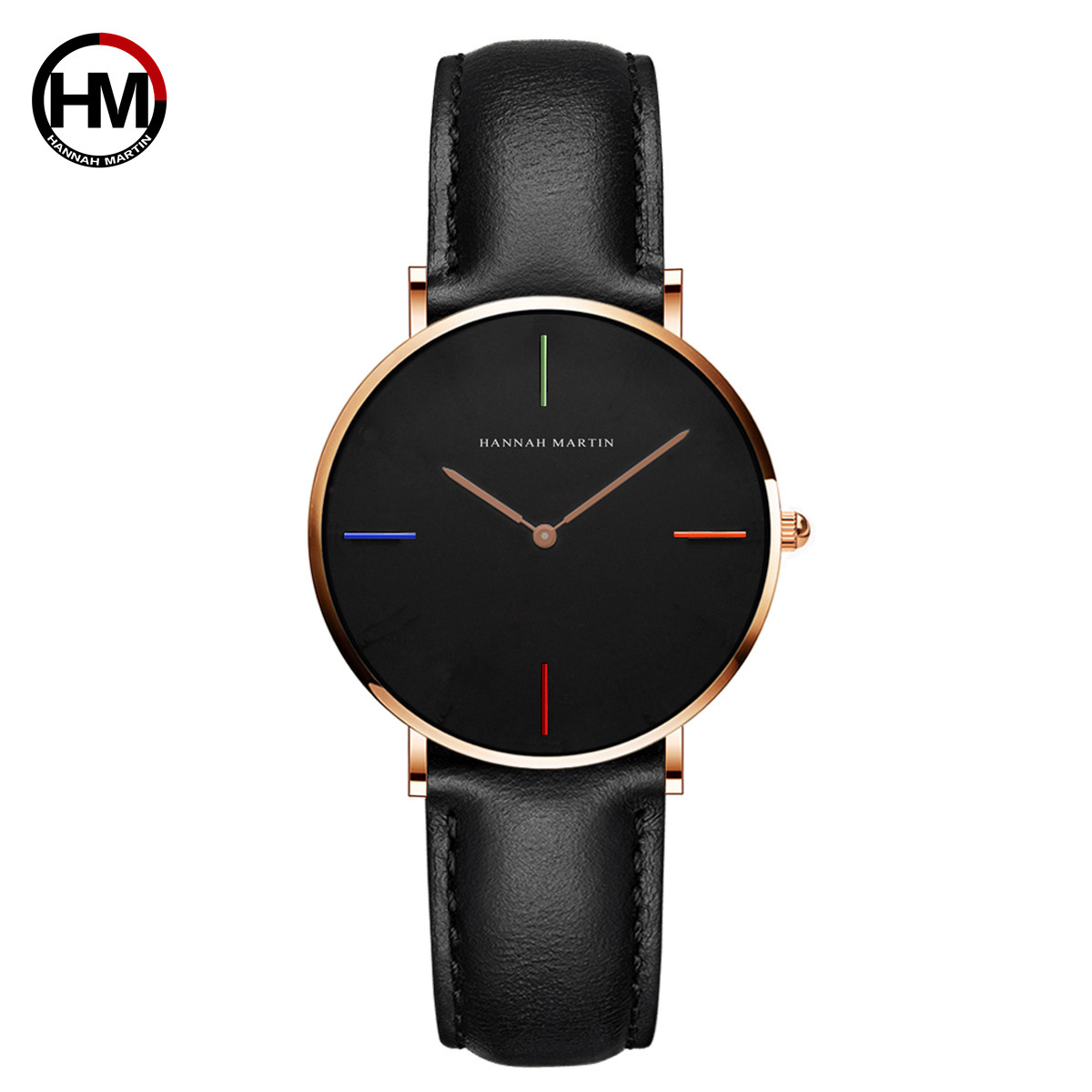 Hannah Martin Top Brand Fashion Ladies Watches Leather  Water Resistant Quartz Wristwatches Womens Watches Top Brand  Luxury