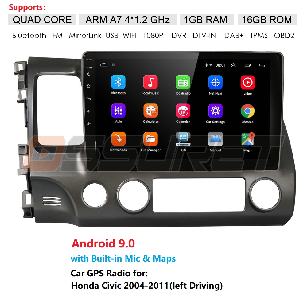Android 9.0 Car Radio Multimedia Video Player For Honda <font><b>Civic</b></font> 2006-2011 Navigation GPS No 2din 2 din dvd OBD DVR SWC Mirror Link image