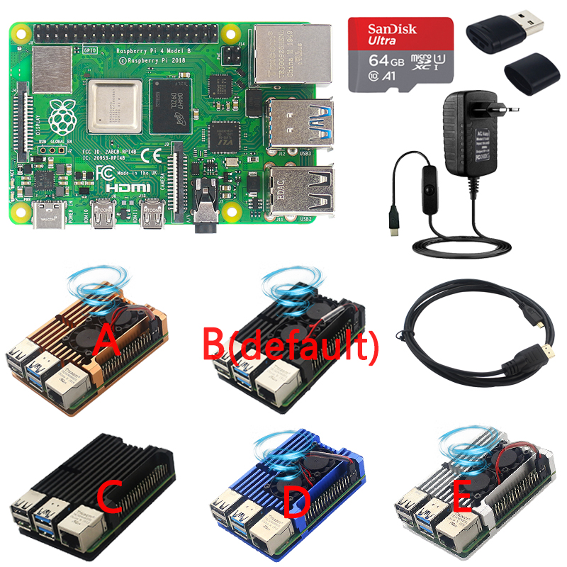 Original Raspberry Pi 4 Model B Kit   Aluminum Case   Heat Sink   3A Switch Power   HDMI Cable Option 64 32GB SD Card Reader