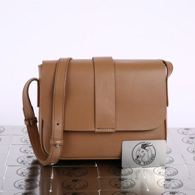 Coated Cowhide Leather Solid Color Saddle Bag  Fashion Retro Small Square Bag Single Shoulder Messenger Bag  Lady Handbag 1