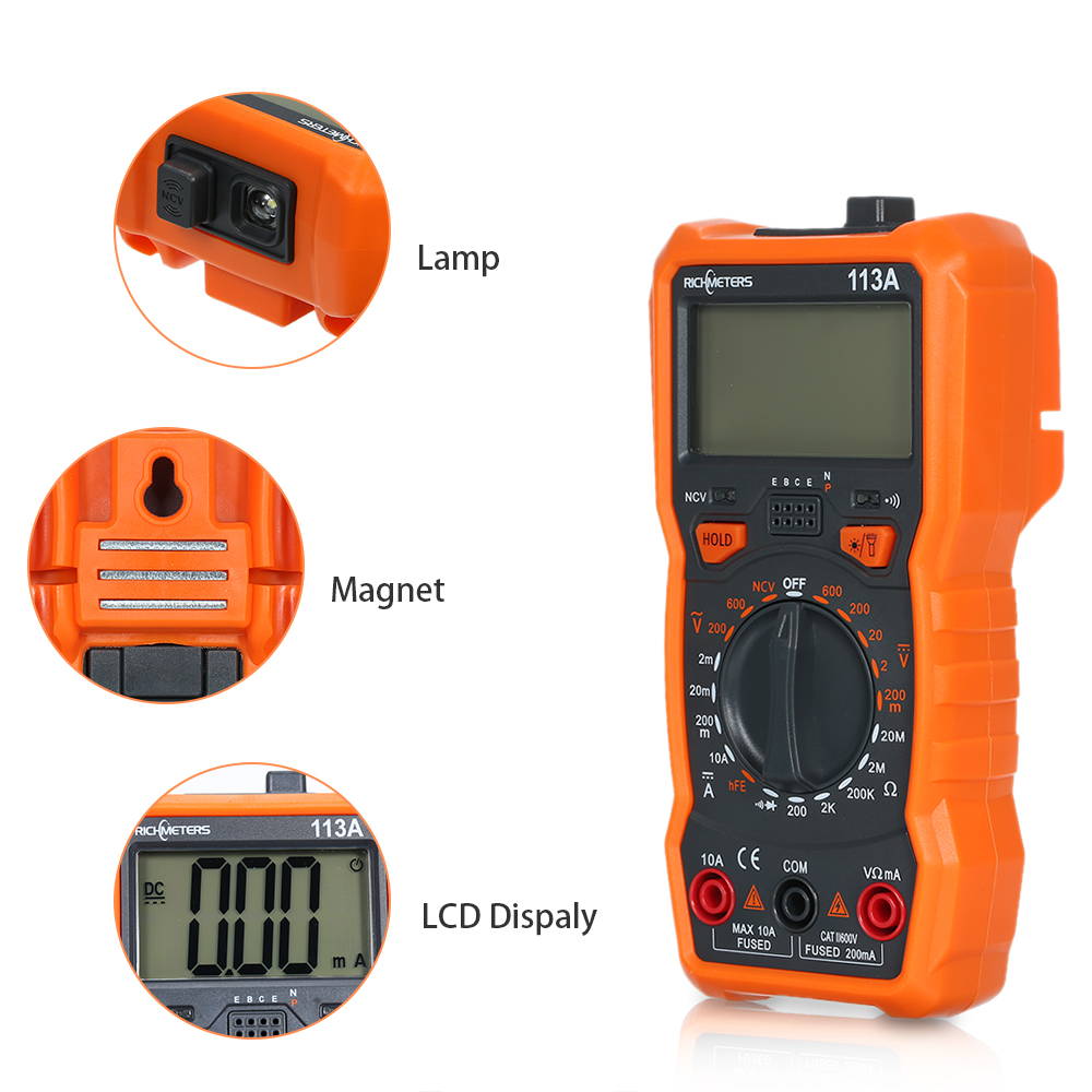 Richmeters Rm113a Ncv Digital Multimeter 2000 Counts Hfe Ac/dc Voltage Measuring With Magnetic Suction Large Screen Multi-meter