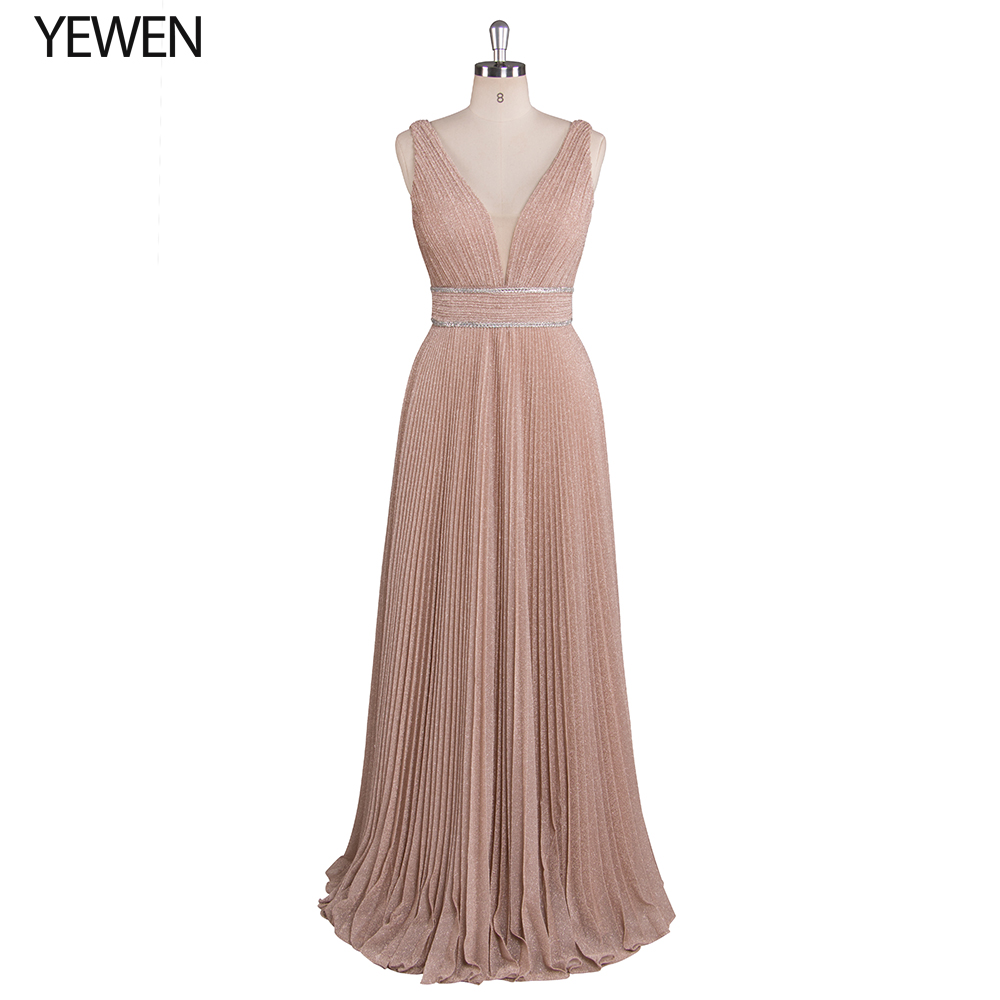 Latest A-Line V Neck Prom Long Elegant Dresses 2019 Evening Party Formal Dress Champagne Matron Of Honor Robe Vestidos De Fiesta