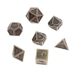 7x dados de Metal poliédrico tamaño estándar bronce para dragón escala D & D juegos