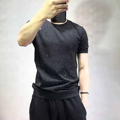 Livraison gratuite hommes strass manches courtes noir mode t-shirt/fête/scène/bling style