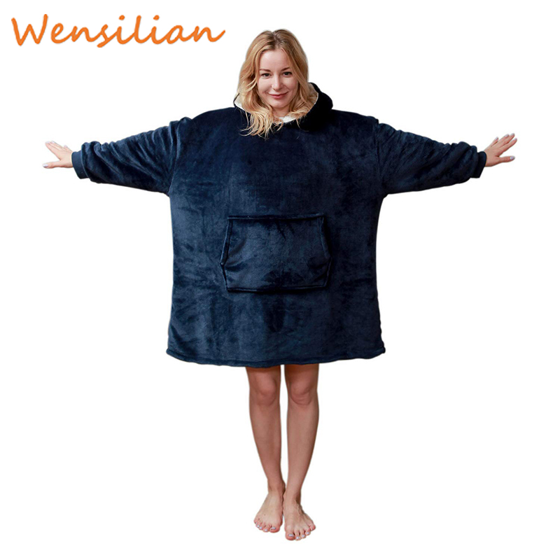Oversized Comfy Sweatshirt Women's Hoodie Blanket Plaid Giant Hoodies Sudadera Mujer Christmas Fleece Oversize Bluza Damska