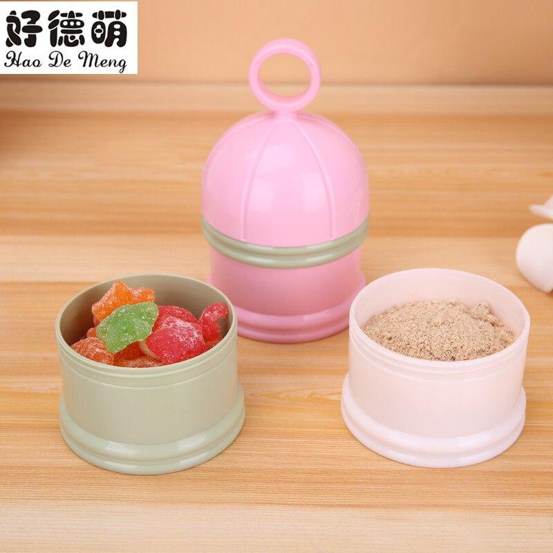 Good German Meng Portable Baby Three-layer Milk Powder Boxes Snacks Storage Box Large Capacity Rotating Milk Cans