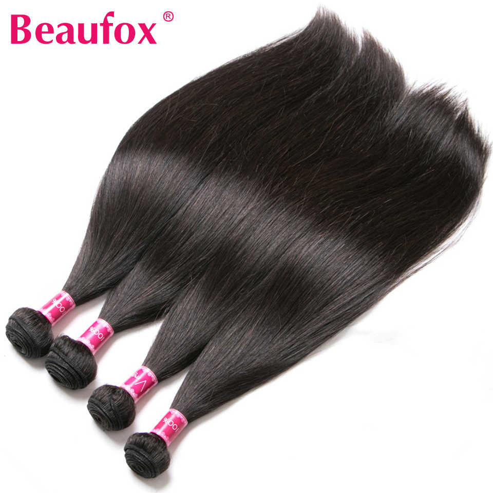 Beaufox 360 Lace Frontal With Bundle Human Hair Weave Bundles With 360 Closure Peruvian Straight Hair With 360 Frontal Remy