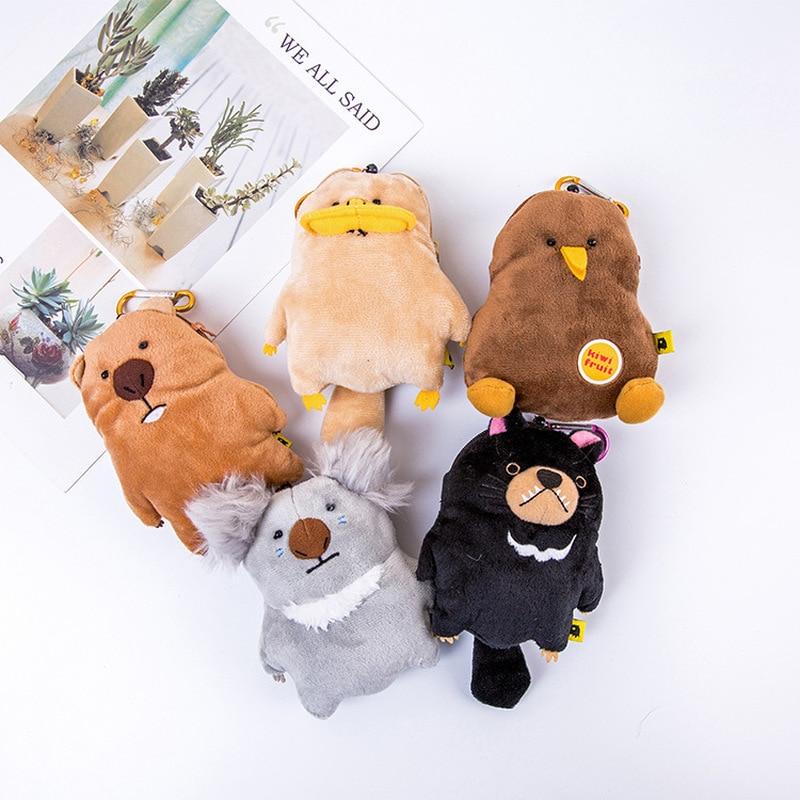 14cm Japanese Wombat Family Plush Purse Toys Kawaii Koala Platypus Animal Coin Card Wallet Soft Stretchable Plush Pendant Gifts