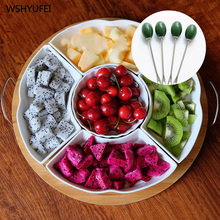 New white round ceramic platter solid wood plate fruit candy nut jewelry display dustproof can put the living room snack plate