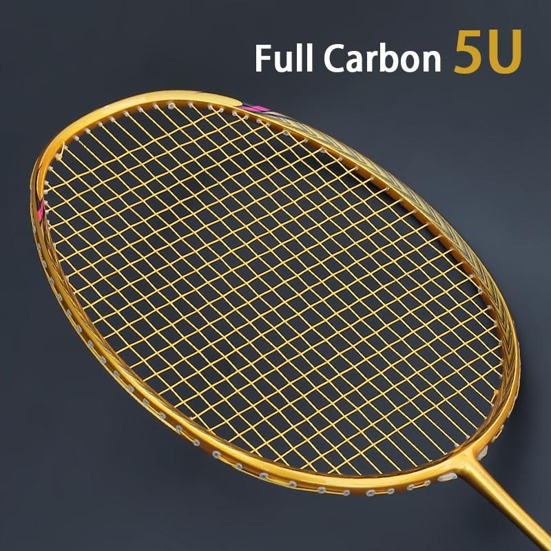 Professional Carbon 4U 5U Badminton Racket Bag With String Offensive Type Rackets Raquette Ultralight Grip Padel Raqueta Strung