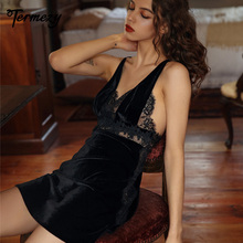 TERMEZY Sexy Velvet Nightdress Woman Lace V-neck Nightgown Sling Sleepwear With Thong 2 Peices Set Robe Nightwear