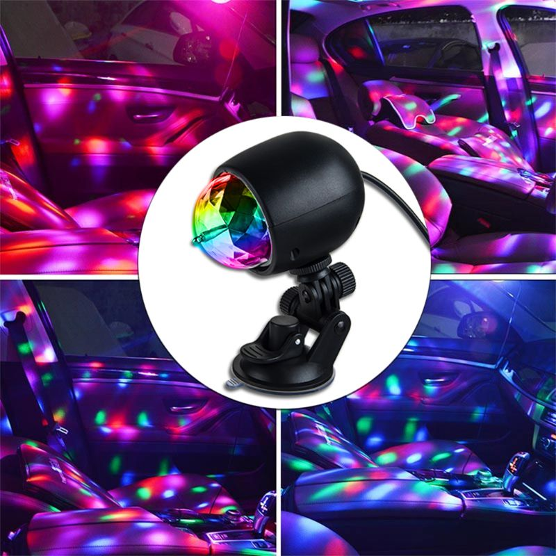 1Pc Auto Car Disco DJ Stage Lighting LED RGB Crystal Ball Lamp Bulb Light Ball Laser Projector Lamp Party in Decorative Lamp from Automobiles Motorcycles