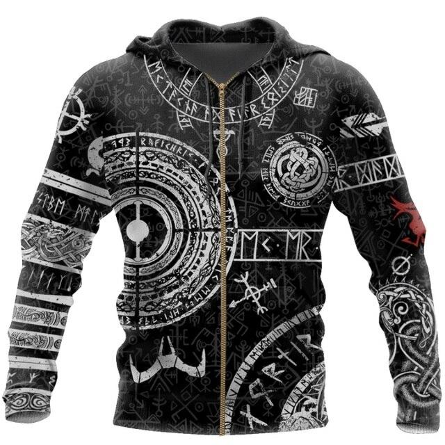 Viking Odin Tattoo 3D Printed Men hoodies Harajuku Fashion Hooded Sweatshirt Autumn Unisex Street hoodie sudadera hombre WS-445 4