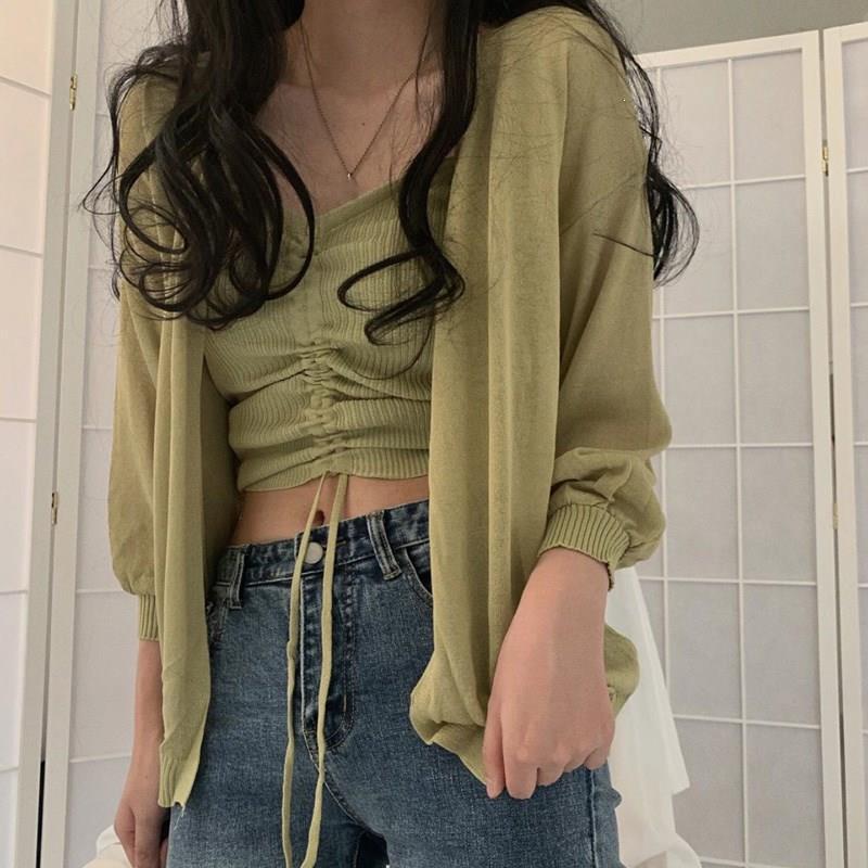 Korean Chic 2Pcs Set V-Neck Drawstring Loose Vest And Cardigan Casual Long Sleeve Sunscreen Knitted Cardigan Sets