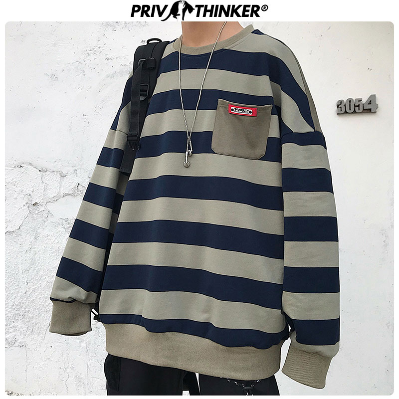 Privathinker Men Striped Autumn Streetwear Sweatshirt 2020 Mens Casual O-Neck Long Sleeve Hoodie Male Hip Hop Tops Loose Clothes