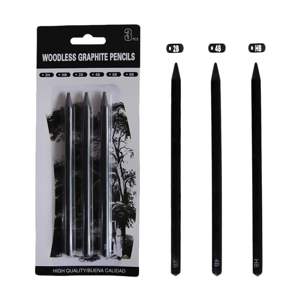 3-Pack Woodless Graphite Pencils Drawing Set HB 2B 4B Woodless Charcoal Pencils Painting Supplies #BW