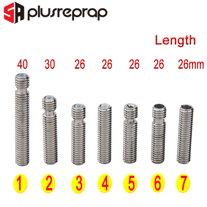 3D Printer Parts For Makebot MK8 M6 1.75mm Filament Stainless Steel Throat PTFE Tube Nozzle Extruder Teflon Tube 26mm 30mm 40mm