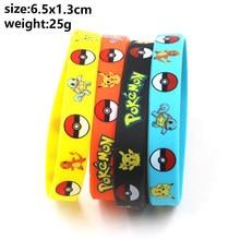 Pokemon silicone pulseira bolso elf pikachu crianças dos desenhos animados pulseira das crianças bonito imprimir jóias festa gfts