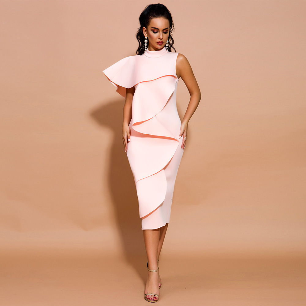 Pink Cocktail Dresses Ruffles Tea Length Party Dress Slit Back Homecoming Gown Real  New Fashion Hot Sale Dress