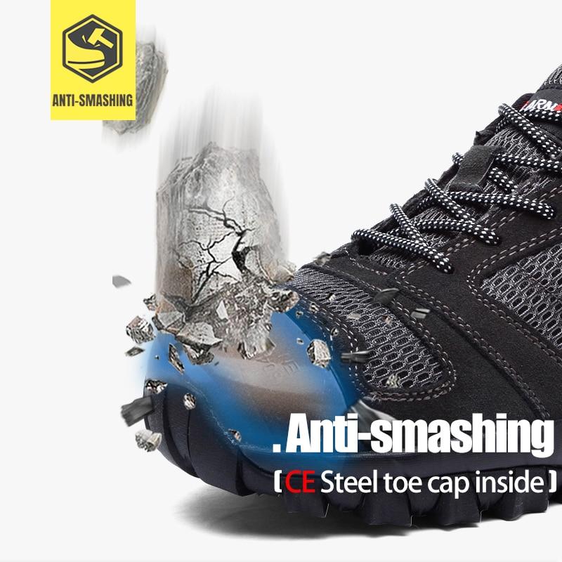 MODYF męskie buty ze stali Toe bezpieczeństwa pracy Lightwieght oddychające Anti smashing Anti przebicie antypoślizgowe budowy obuwie w Obuwie robocze i ochronne od Buty na  Grupa 2
