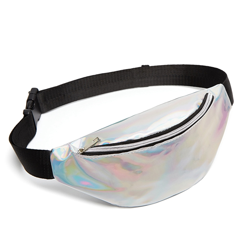 1 PC Laser Multicolored Sequined Waist Bag Ladies Pocket Chest Bag Kid Boy Girl Money Wallet Waist Bag Kawaii Running Belt Bag