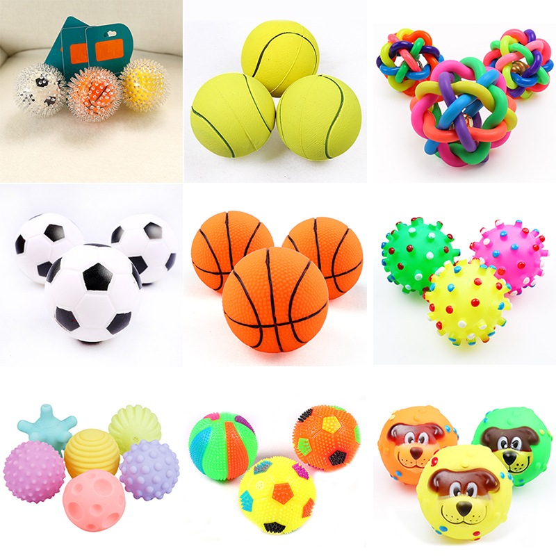 1pcs Pet Dog Ball Toys for Small Dogs Squeaky Diameter 6cm Rubber Chew Puppy Toy Dog Clean teeth Bite toy dog French bulldog Stu
