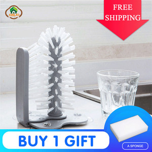 Image 1 - MSJO  Cleaning Brush Cup Bottles Sink Kitchen Accessories Water Scrubber Wine Suction Cleaning Cup Brush Drop Ship Glass Cleaner