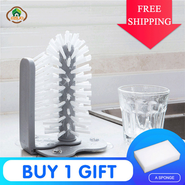 MSJO  Cleaning Brush Cup Bottles Sink Kitchen Accessories Water Scrubber Wine Suction Cleaning Cup Brush Drop Ship Glass Cleaner