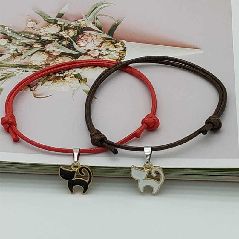 Nueva llegada pulseras emparejadas para mujeres y hombres par pulseras negro y blanco cuerda cadena moda estrellas encanto pulsera de la suerte