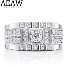 10 gold round coated cakeboard 12 ct Luxury 0.3Carat ct 4.0mm Round Brlliant Cut Moissanite Engagement Wedding Ring Solid Real 18k White Gold Men Ring for Women