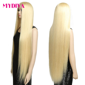 28 Inch Long 13*4 Middle Part Lace Front Human Hair Wig Brazilian Straight Frontal Wigs For Womam 613 Honey Blonde Lace Wig 150% image