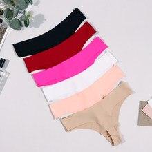 String Sexy en soie pour femmes, culotte sans couture, taille basse, t-back, Lingerie confortable pour sous-vêtements féminins