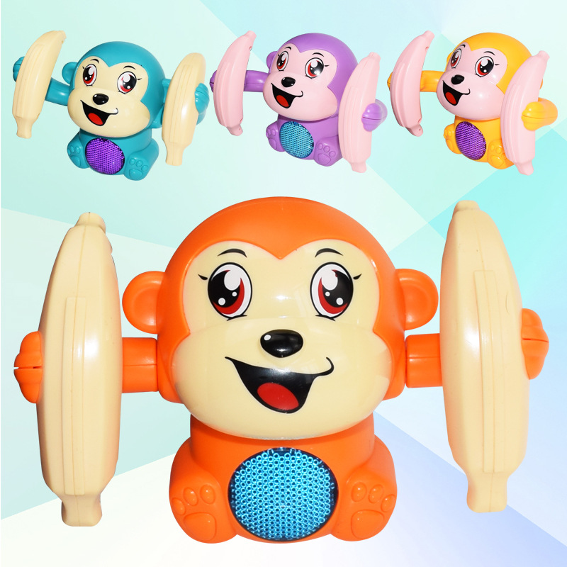 1pcs Baby Voice Control Rolling Little Monkey Toy Walk Sing Brain Game Interactive Crawling Electric Toys For Kids