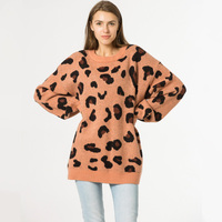 Fashion knitted women Sweater pullovers female lazy wind loose large size leopard print pullover sweater outside women sweater