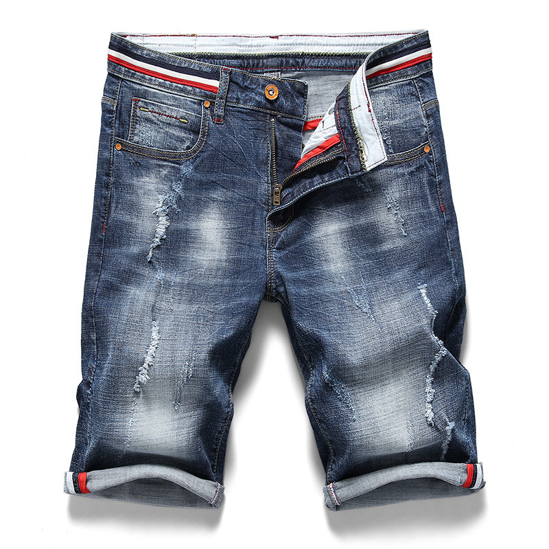 2019 Summer New Men's Stretch Ripped Short Jeans Fashion Casual Slim Fit High Quality Distressed Hole Denim Shorts Men 28-40