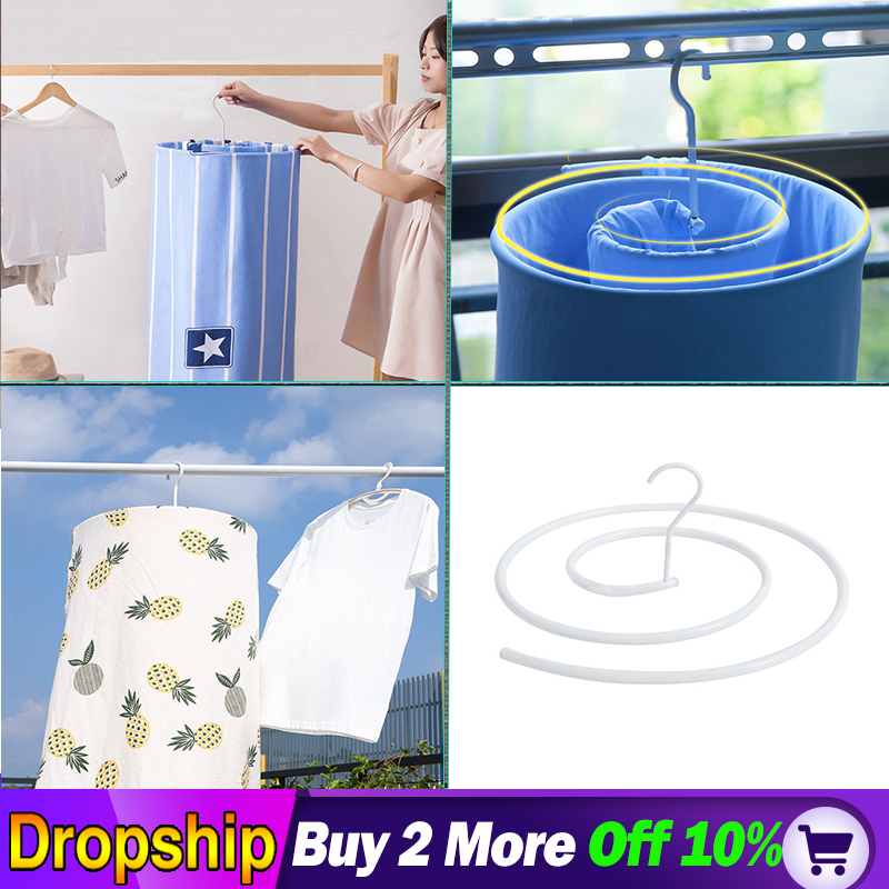 Spiral-shaped Clothes Iron Quilt Sheets Hanger Cover Drying Hook Quilt Design Blanket Outdoor Home Indoor Hanger Rack Drying
