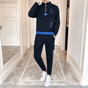 Autumn men long-sleeve half zippers hoodies sweatpants 2piece sweatsuit hip hop tracksuit sport pants men sportswear jogger set
